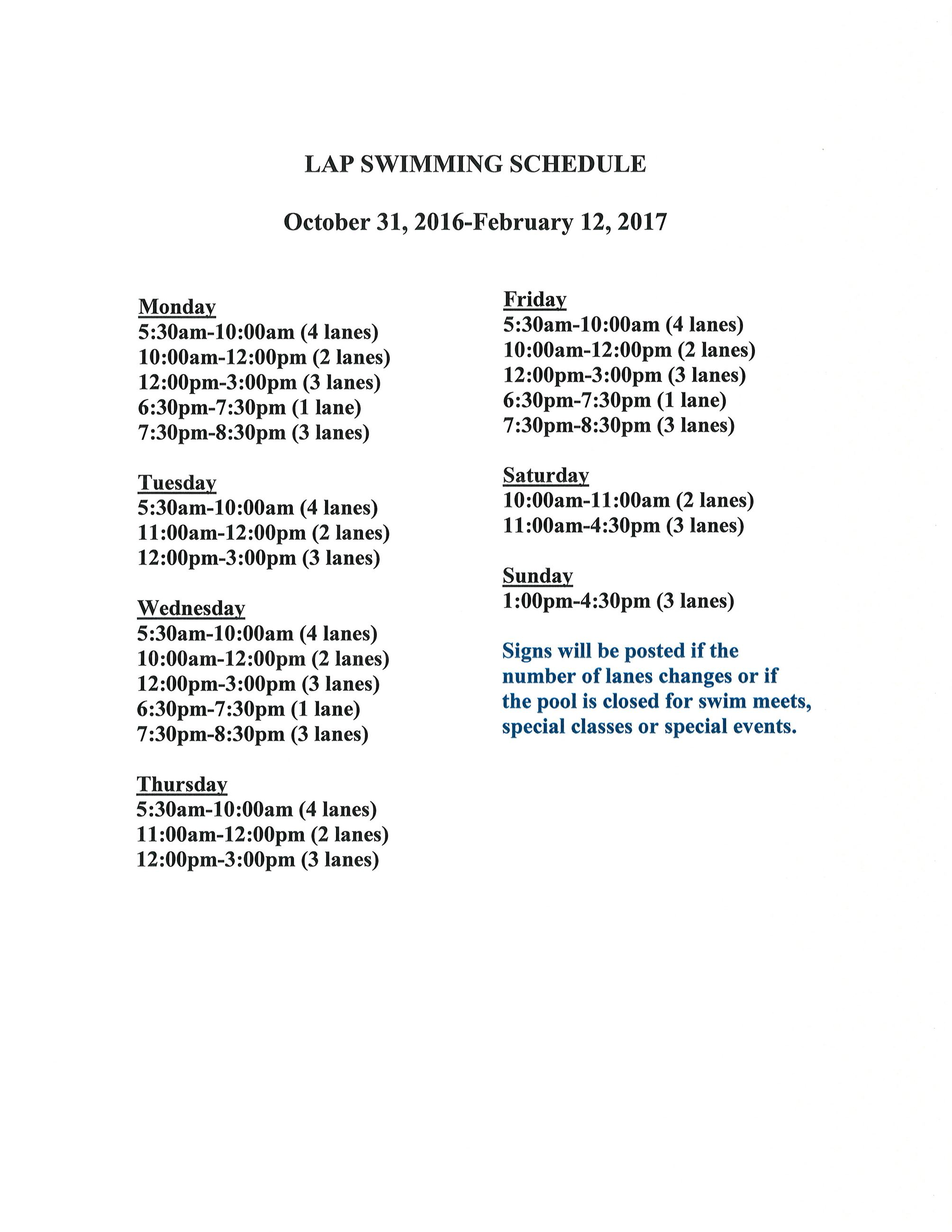 Winter 2016 Lap Swim Schedule