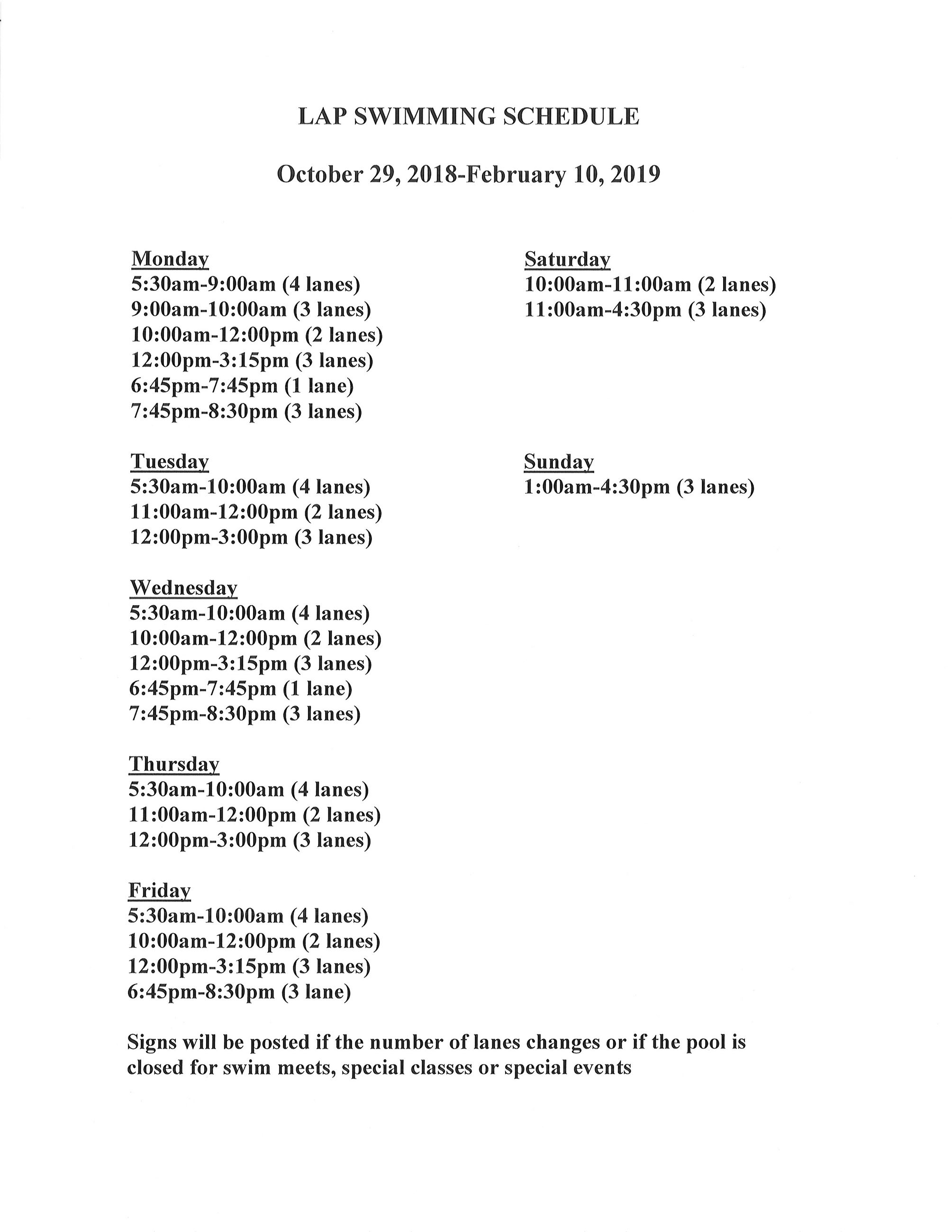 Winter 2018-19 Lap Swim Schedule