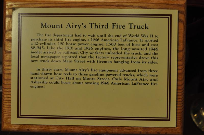 Mount Airy's Third Fire Truck