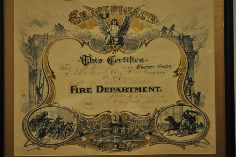 Fire Department Certificate