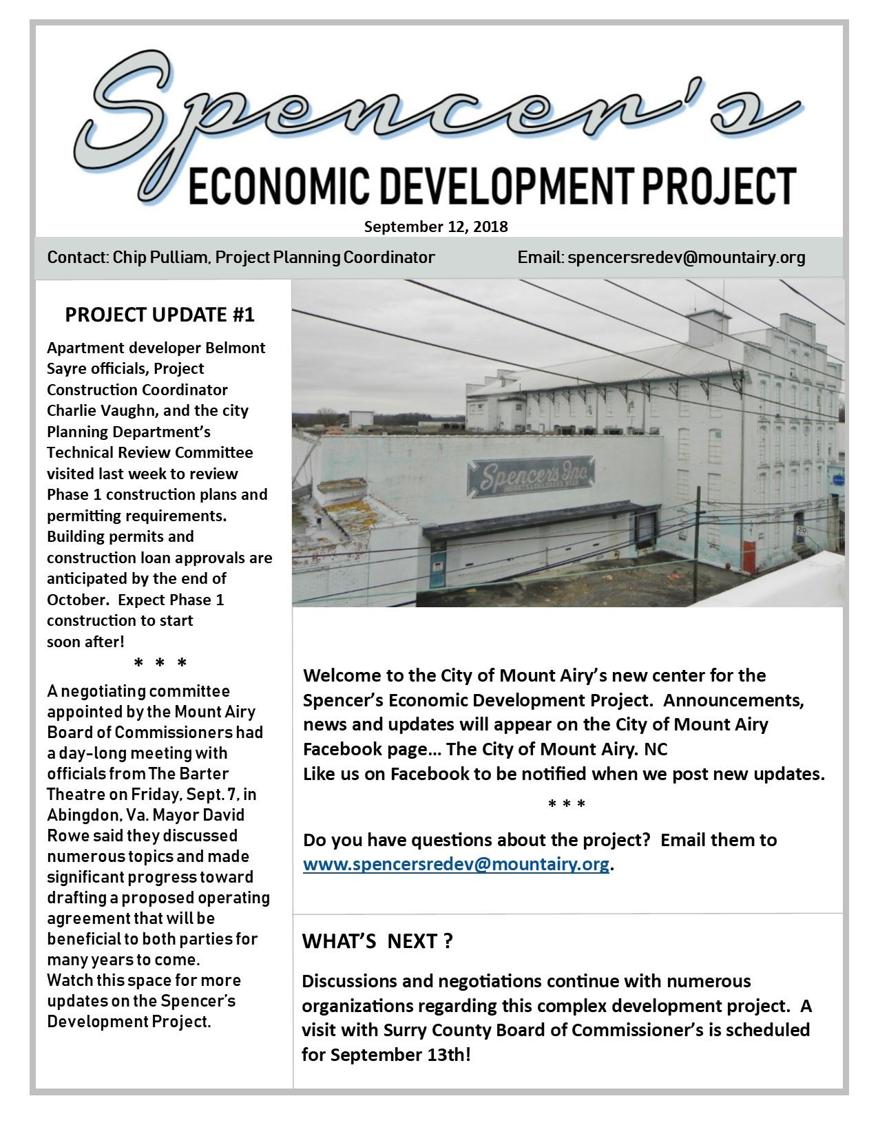 Spencer Economic Development Project Update